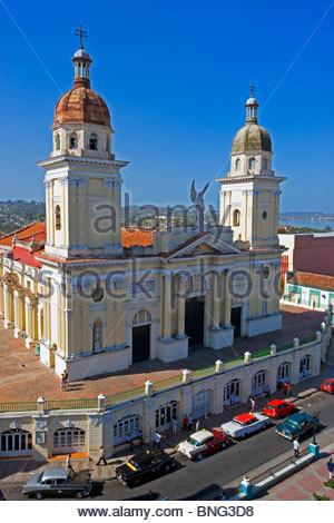 Plaza Caspedes and the Cathedral. Santiago de Cuba,province of Santiago,Cuba - Stock Photo