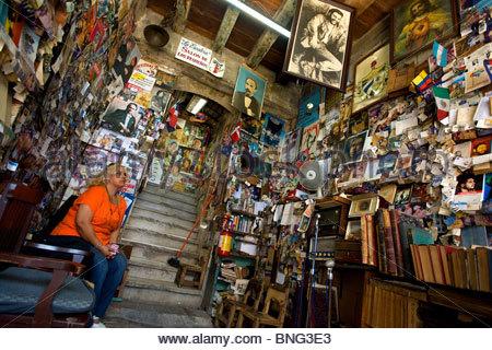 Escalera bookstore on calle Heredia and the Cathedral. Santiago de Cuba,province of Santiago,Cuba - Stock Photo