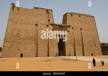 the well preserved cult temple of Horus in Edfu Egypt - Stock Photo