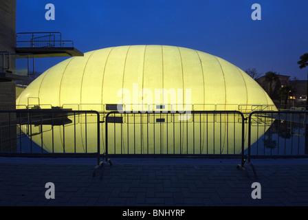 Switzerland Lugano city Canton of Ticino Lido swimming-pool park at night inflatable hall illuminated illumination - Stock Photo