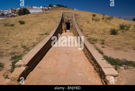 VIEWS OF THE DOLMENS ANTEQUERA ANTEQUERA ANCIENT BURIAL GROUND SPAIN - Stock Photo
