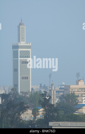 Africa, Senegal, Dakar. Capital city of Dakar, port area. Downtown skyline with mosque. - Stock Photo