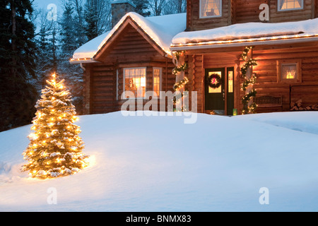 Lit Christmas tree in front of log home decorated with lights and Christmas decorations, Anchorage, Alaska (digitally - Stock Photo