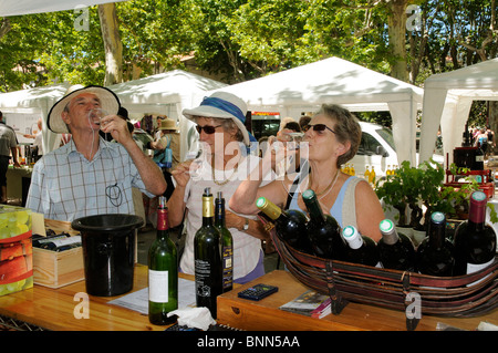 Wine tasting at the AOC Saint Chinian Wine Festival in the Languedoc region of southern France - Stock Photo