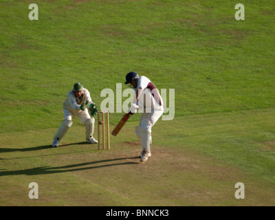 Batsman being bowled out, Amateur cricket match, Bude, Cornwall, UK - Stock Photo