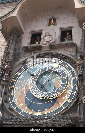 Prazsky Orloj Clock in Staromestske Namesti, Main Square in Prague - Stock Photo