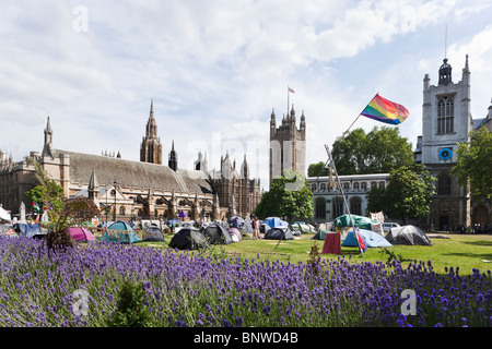 Parliament Square Peace Camp war protesters London Westminster - Stock Photo
