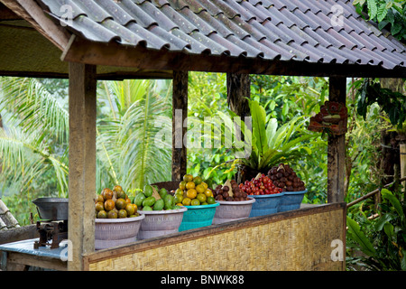 Stall selling tropical fruit on the island of Bali, Indonesia. - Stock Photo