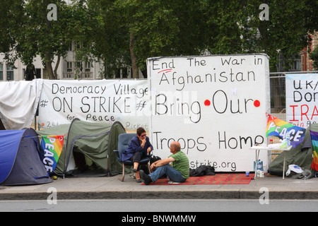 An anti Afghanistan war protest at the peace camp in Parliament Square, Westminster, London, England, U.K. - Stock Photo