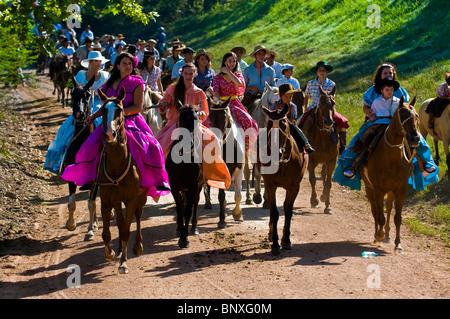 Participants in the annual festival Patria Gaucha in Tacuarembo Uruguay - Stock Photo
