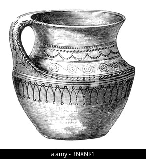 Black and White Illustration of a 8th of 9th century Scandanavian Earthenware Ewer - Stock Photo