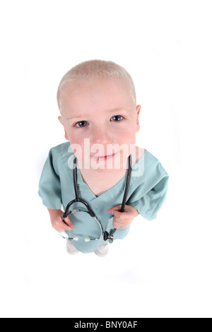 Child Nurse or Doctor Ready to Help You on White Background - Stock Photo