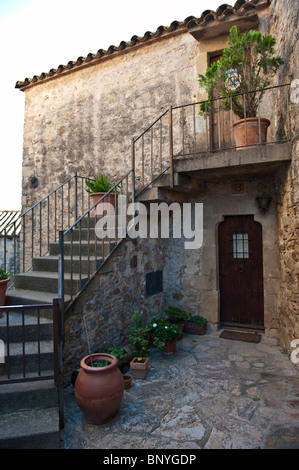 Medieval town of Pals in Girona, Spain. - Stock Photo