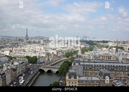 Paris, France, view westwards from the north tower of the Cathedral of Notre Dame, towards the Eiffel Tower and - Stock Photo