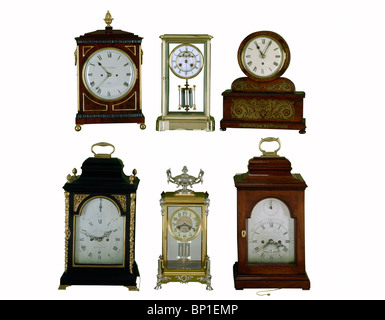 Four English & two French Bracket clocks - Stock Photo