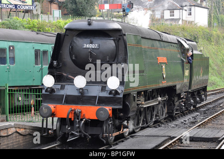 Preserved West Country Class Pacific Loco No. 34007 'Wadebridge' on the Mid Hants Railway, Hampshire, England, UK - Stock Photo