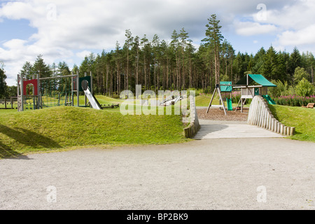 Falls of Shin visitor centre children's play area by the river shin near Lairg in the Scottish Highlands. - Stock Photo
