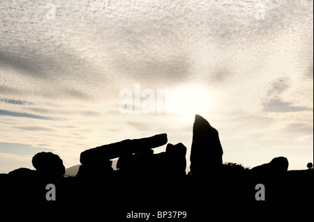 Clontygora prehistoric Neolithic chambered court cairn burial site near Newry, County Armagh, Northern Ireland, - Stock Photo