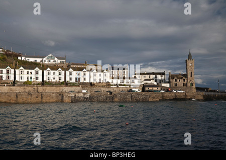 View across the natural harbour of Porthleven, Cornwall - Stock Photo