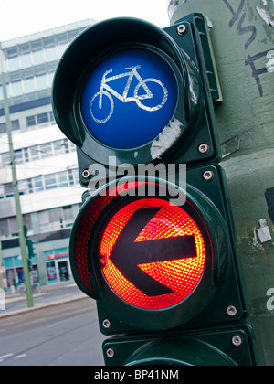 Red stop light for cyclists in Berlin Germany - Stock Photo