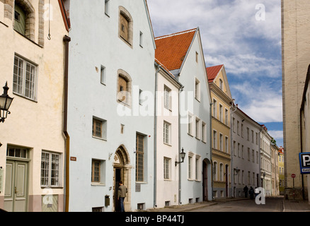 15th century houses in the centre of the old part of Tallinn, World Heritage Site, Estonia - Stock Photo