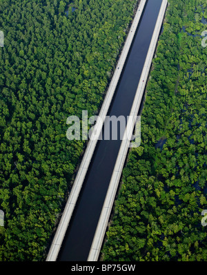 aerial view above Intercoastal Waterway Louisiana - Stock Photo