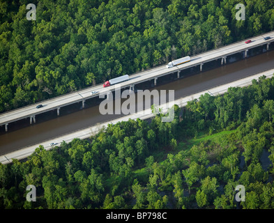 aerial view above Intercoastal Waterway Louisiana - Stock Photo