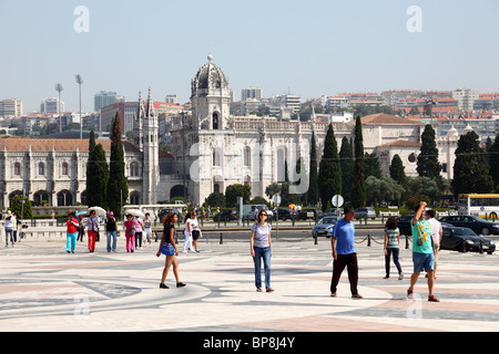 Monastery of the Hieronymites and Tower of Belem in Lisbon, Portugal - Stock Photo