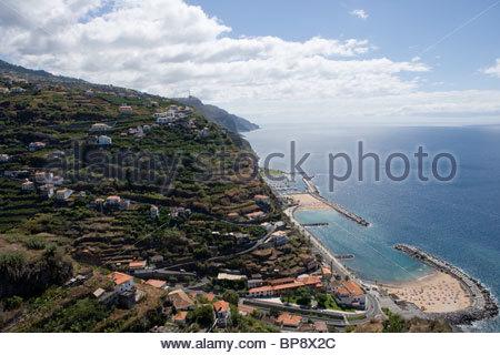 View of Calheta Beach and Marina from Casa das Mudas Arts Centre, Calheta, Madeira, Portugal - Stock Photo