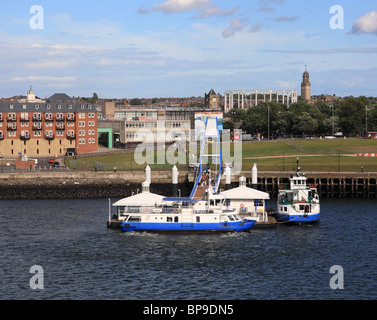 River Tyne ferries moored at South Shields, England, UK - Stock Photo