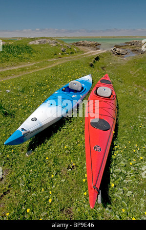 Ready for a day's paddling round the Isle of Berneray, Outer Hebrides, Western Isles. Scotland. SCO 6350 - Stock Photo