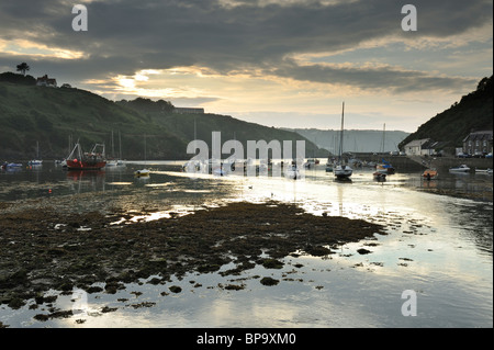 Boats moored in the Lower Quay at Fishguard, Pembrokeshire. - Stock Photo