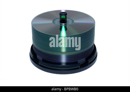 Stack of blank DVD and CD discs isolated on white background. - Stock Photo