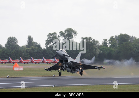 Eurofighter Typhoon F2 from Royal Air Force 29(R) Squadron RAF Coningsby takes off to rehearse its display at the - Stock Photo
