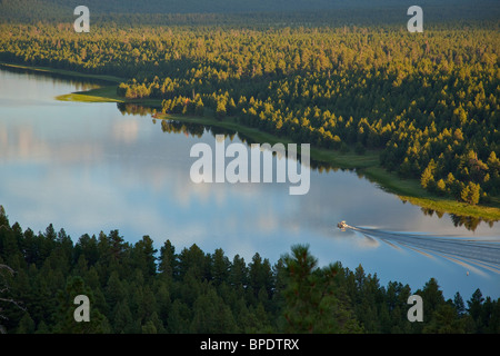 Boating on Upper Lake Mary viewed from rim of Anderson Mesa, summer in Coconino National Forest, south of Flagstaff, - Stock Photo