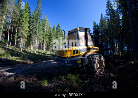 Ponsse Elk forest forwarder in the forest , Finland - Stock Photo