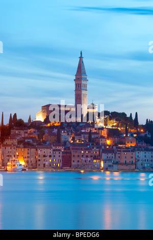 croatia, istria - town of rovinj at dusk - Stock Photo