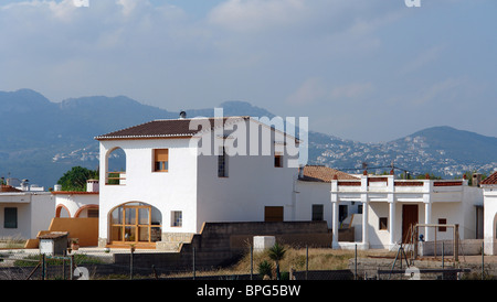 nice white finish house in an expensive area by mediterranean sea - Stock Photo