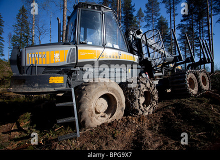 Ponsse Buffalo forest forwarder at clear-cutting area , Finland - Stock Photo