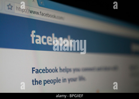 Facebook social networking website splash screen and logo - Stock Photo