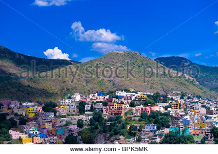Overview of the colorful city of Guanajuato (from Pipila Monument), Mexico - Stock Photo