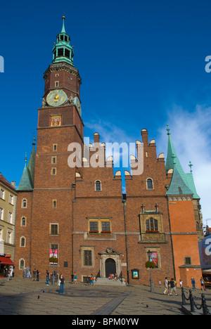 Town hall at Rynek the main square Wroclaw Silesia Poland Europe - Stock Photo