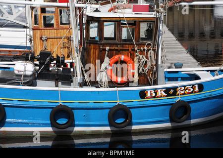 Fishing boats Favourite BK 11 and Rachel Douglas BK 231  moored within St Peter's Marina, Newcastle upon Tyne, England, - Stock Photo