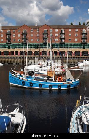 Fishing boat BK 231 Rachel Douglas moored within St Peter's Marina, Newcastle upon Tyne, England, UK - Stock Photo