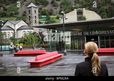 The belfry tower of St Esteve church and Congress Centre in the centre of the capital city of Andorra La Vella in - Stock Photo