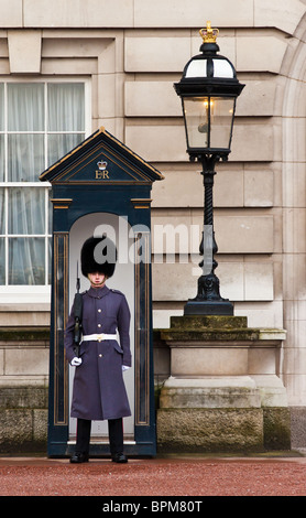 A Royal Household Guard in winter uniform outside Buckingham Palace, London, England. - Stock Photo