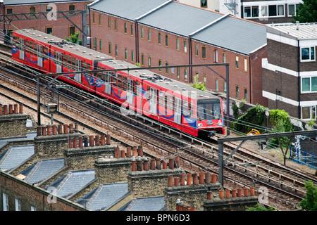 Docklands Light Railway Train, East London, UK. - Stock Photo