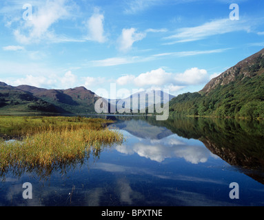 Llyn Dinas, a picturesque lake  set in the valley of the River Glaslyn.  View showing Moel Hebog - Stock Photo