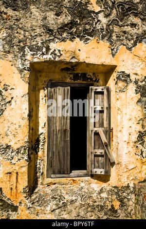 Historic El Morro Spanish fortress window close up of San Felipe del Morro fort in San Juan, Puerto Rico - Stock Photo