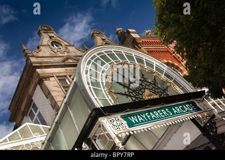 UK, England, Merseyside, Southport, Lord Street, Wayfarers Arcade cast iron entrance canopy - Stock Photo